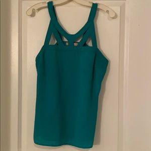 Kelly green cutout neck top